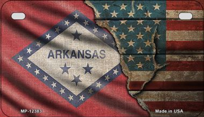 Arkansas/American Flag Novelty Metal Motorcycle Plate MP-12383