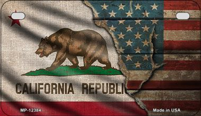 California/American Flag Novelty Metal Motorcycle Plate MP-12384