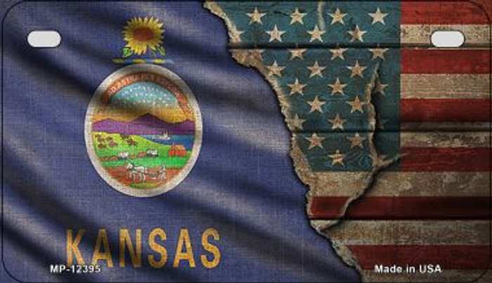 Kansas/American Flag Novelty Metal Motorcycle Plate MP-12395
