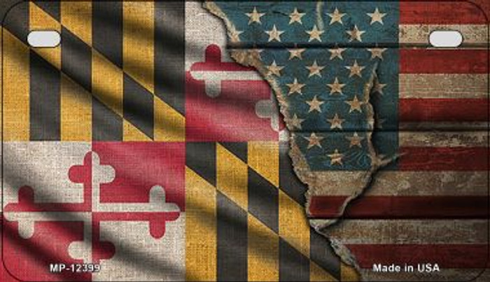 Maryland/American Flag Novelty Metal Motorcycle Plate MP-12399