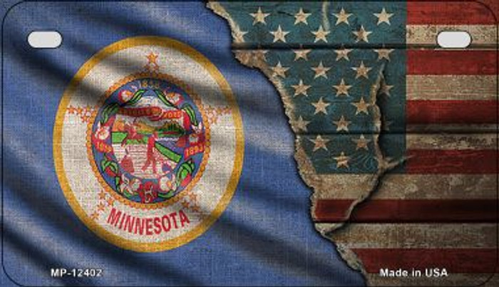 Minnesota/American Flag Novelty Metal Motorcycle Plate MP-12402
