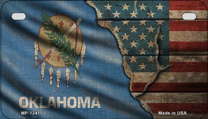 Oklahoma/American Flag Novelty Metal Motorcycle Plate MP-12415