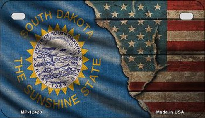 South Dakota/American Flag Novelty Metal Motorcycle Plate MP-12420