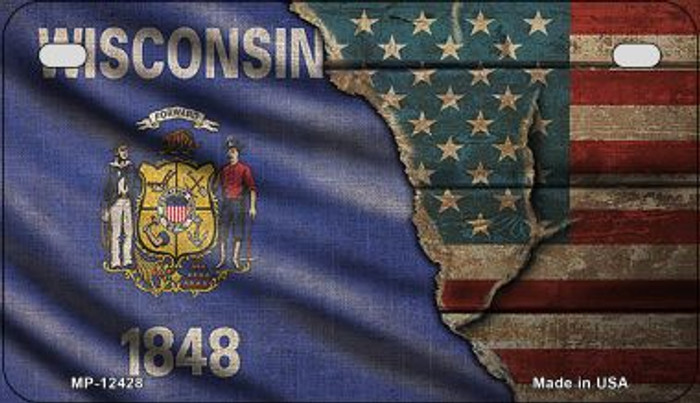 Wisconsin/American Flag Novelty Metal Motorcycle Plate MP-12428