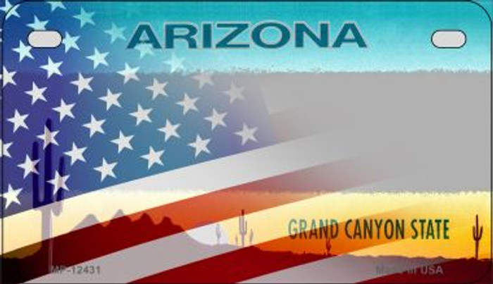 Arizona with American Flag Novelty Metal Motorcycle Plate MP-12431