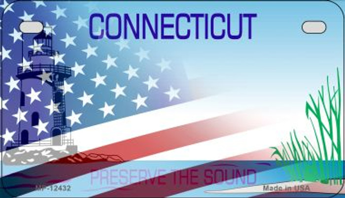 Connecticut with American Flag Novelty Metal Motorcycle Plate MP-12432