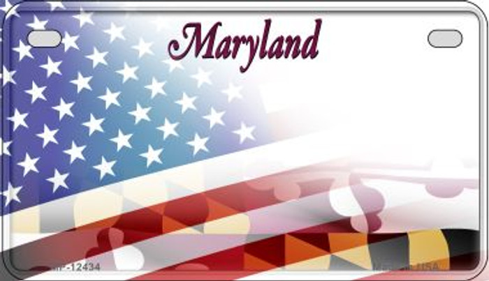 Maryland with American Flag Novelty Metal Motorcycle Plate MP-12434