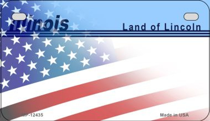 Illinois with American Flag Novelty Metal Motorcycle Plate MP-12435