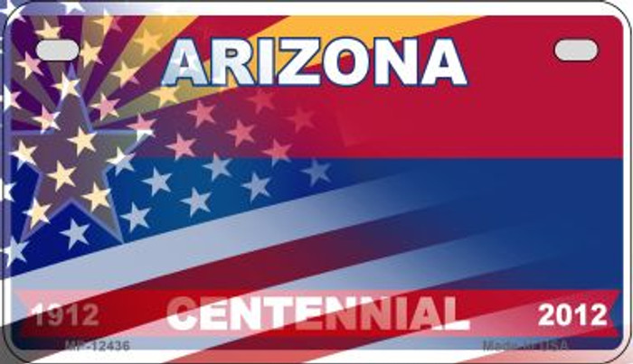 Arizona with American Flag Novelty Metal Motorcycle Plate MP-12436