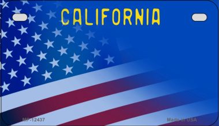 California with American Flag Novelty Metal Motorcycle Plate MP-12437