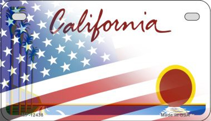 California with American Flag Novelty Metal Motorcycle Plate MP-12438