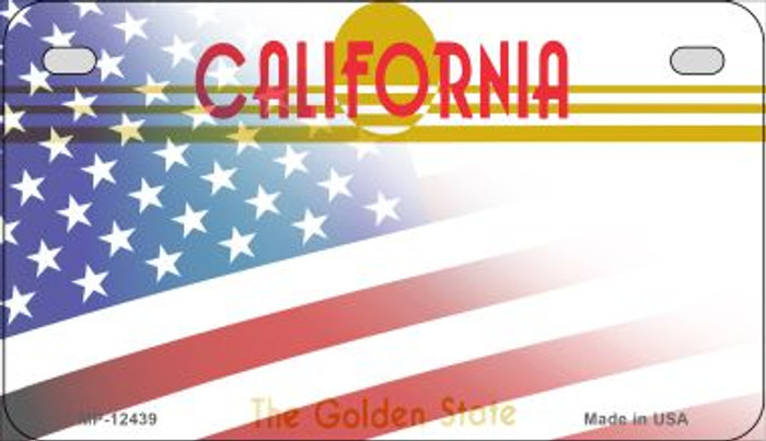 California with American Flag Novelty Metal Motorcycle Plate MP-12439