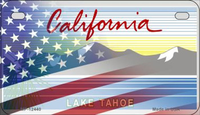 California with American Flag Novelty Metal Motorcycle Plate MP-12440