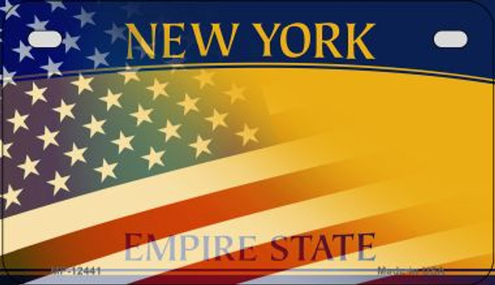 New York with American Flag Novelty Metal Motorcycle Plate MP-12441