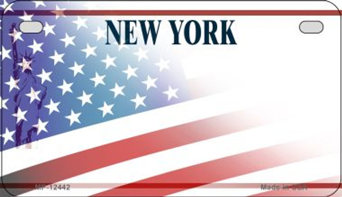 New York with American Flag Novelty Metal Motorcycle Plate MP-12442