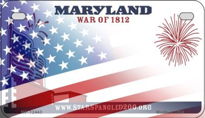 Maryland with American Flag Novelty Metal Motorcycle Plate MP-12443