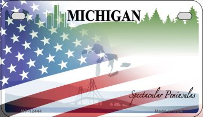 Michigan with American Flag Novelty Metal Motorcycle Plate MP-12444