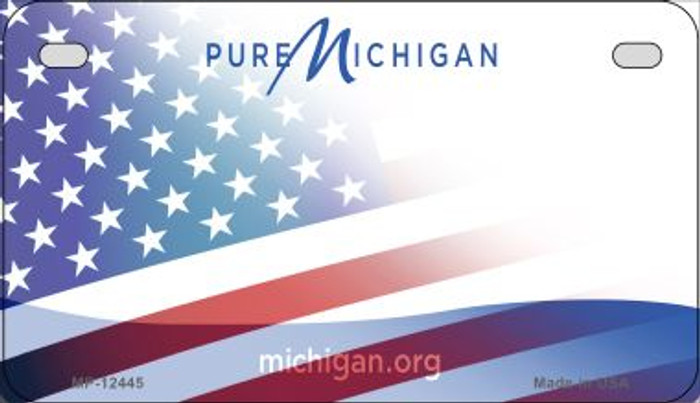Michigan with American Flag Novelty Metal Motorcycle Plate MP-12445