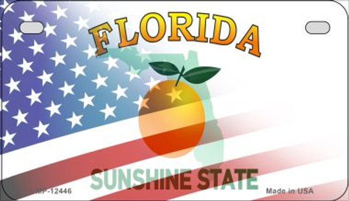 Florida with American Flag Novelty Metal Motorcycle Plate MP-12446