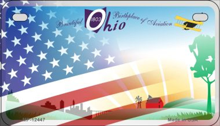 Ohio with American Flag Novelty Metal Motorcycle Plate MP-12447