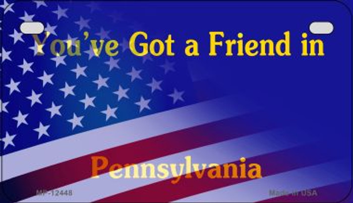 Pennsylvania with American Flag Novelty Metal Motorcycle Plate MP-12448