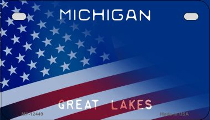 Michigan with American Flag Novelty Metal Motorcycle Plate MP-12449