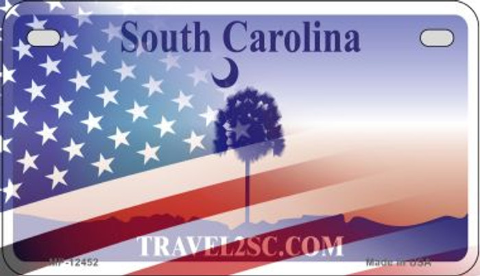 South Carolina with American Flag Novelty Metal Motorcycle Plate MP-12452