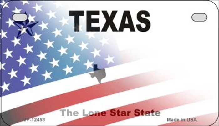Texas with American Flag Novelty Metal Motorcycle Plate MP-12453