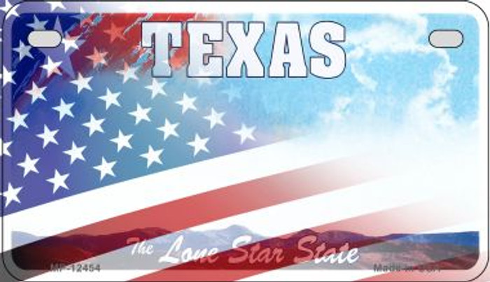 Texas with American Flag Novelty Metal Motorcycle Plate MP-12454