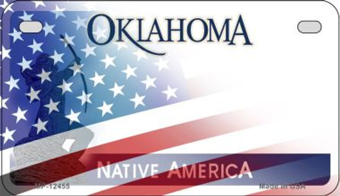 Oklahoma with American Flag Novelty Metal Motorcycle Plate MP-12455