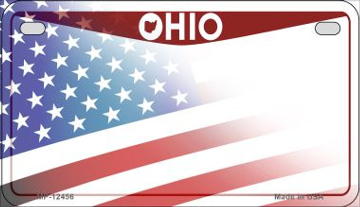 Ohio with American Flag Novelty Metal Motorcycle Plate MP-12456