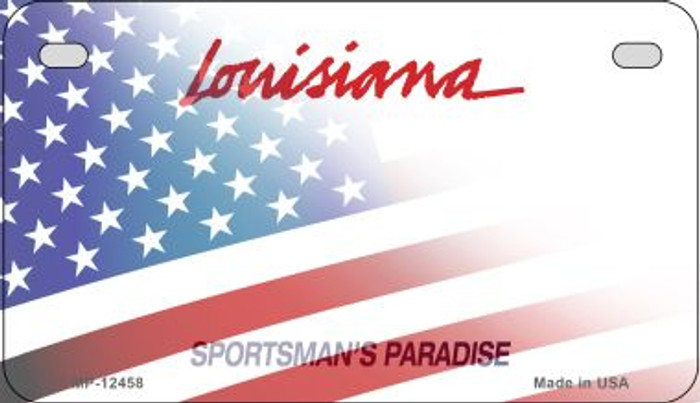 Louisiana with American Flag Novelty Metal Motorcycle Plate MP-12458