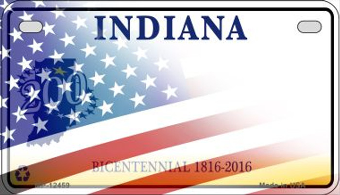 Indiana with American Flag Novelty Metal Motorcycle Plate MP-12459