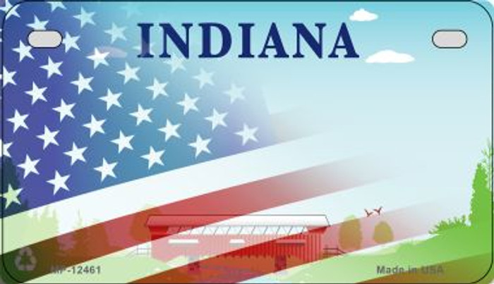 Indiana with American Flag Novelty Metal Motorcycle Plate MP-12461
