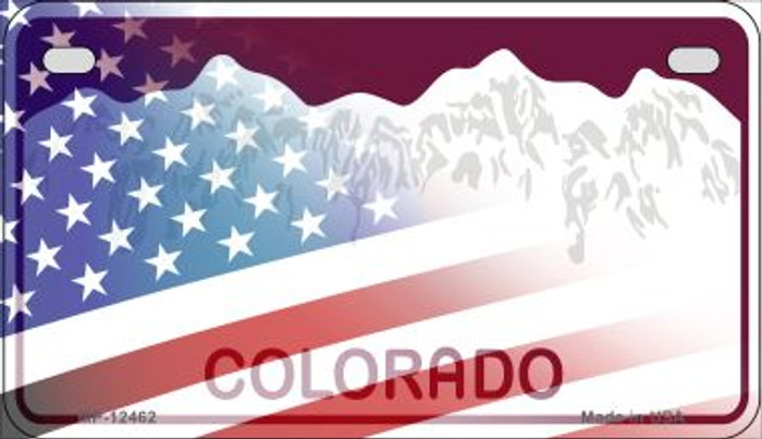 Colorado with American Flag Novelty Metal Motorcycle Plate MP-12462