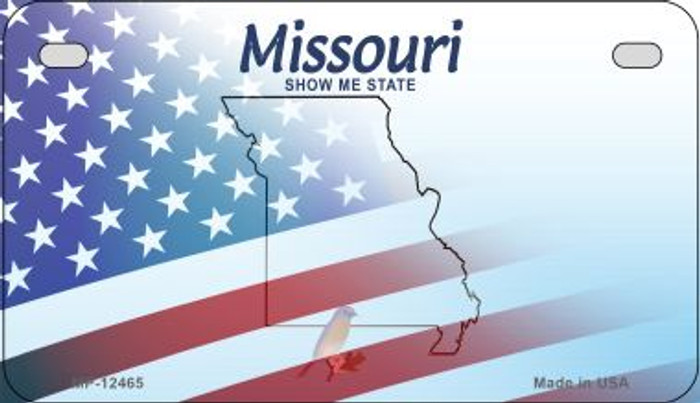 Missouri with American Flag Novelty Metal Motorcycle Plate MP-12465