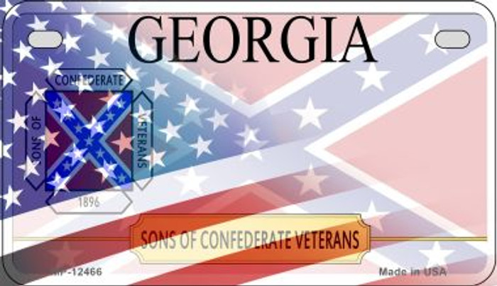 Georgia with American Flag Novelty Metal Motorcycle Plate MP-12466
