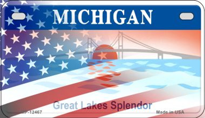 Michigan with American Flag Novelty Metal Motorcycle Plate MP-12467