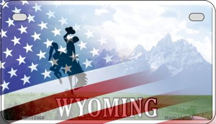 Wyoming with American Flag Novelty Metal Motorcycle Plate MP-12468