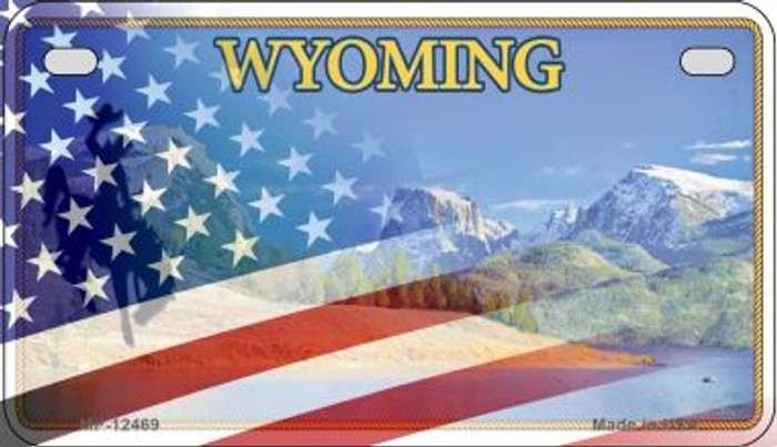 Wyoming with American Flag Novelty Metal Motorcycle Plate MP-12469