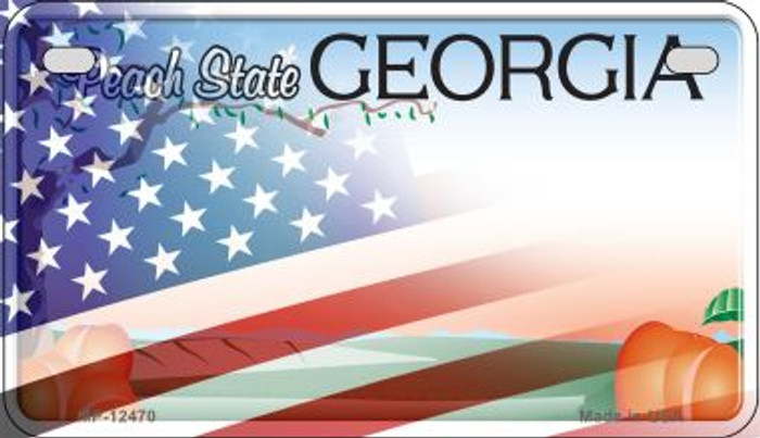 Georgia with American Flag Novelty Metal Motorcycle Plate MP-12470