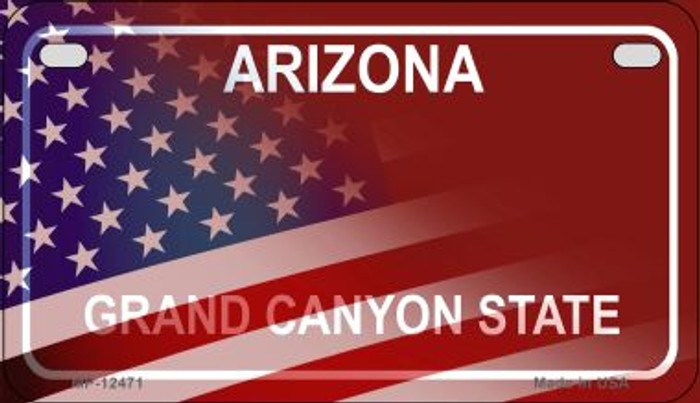 Arizona with American Flag Novelty Metal Motorcycle Plate MP-12471