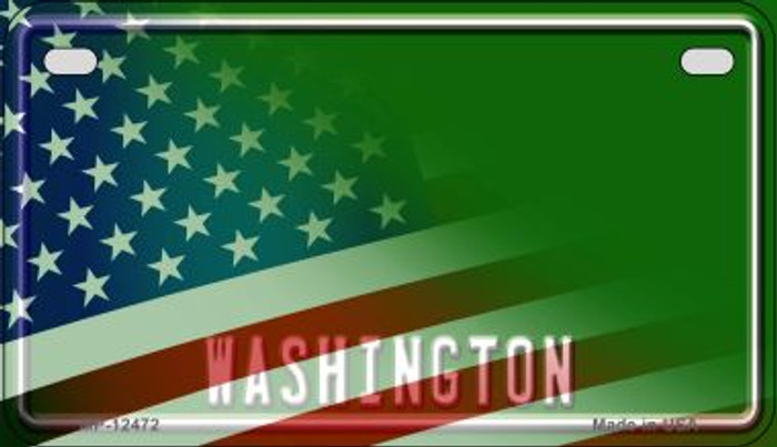 Washington with American Flag Novelty Metal Motorcycle Plate MP-12472