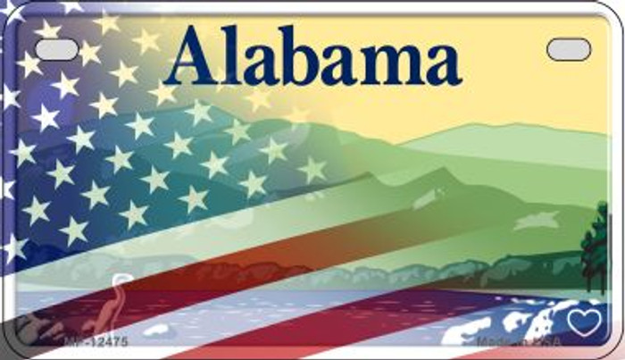 Alabama with American Flag Novelty Metal Motorcycle Plate MP-12475