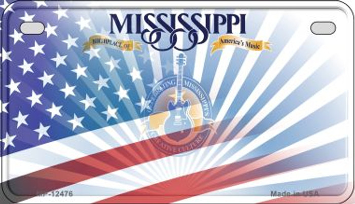 Mississippi with American Flag Novelty Metal Motorcycle Plate MP-12476