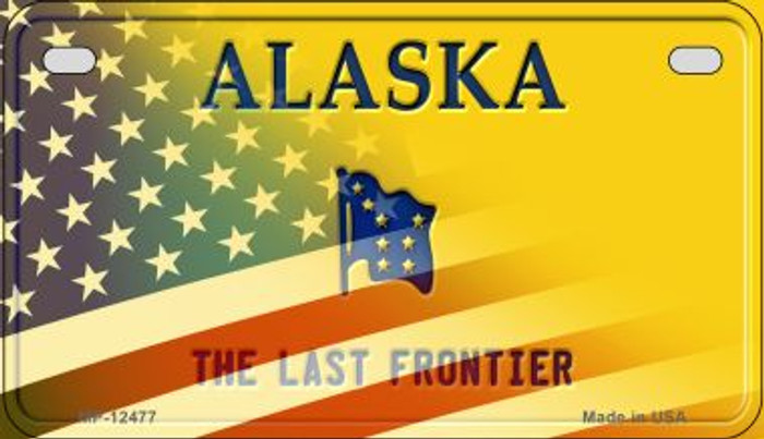 Alaska with American Flag Novelty Metal Motorcycle Plate MP-12477