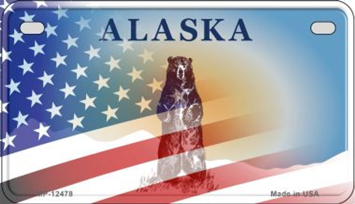 Alaska with American Flag Novelty Metal Motorcycle Plate MP-12478