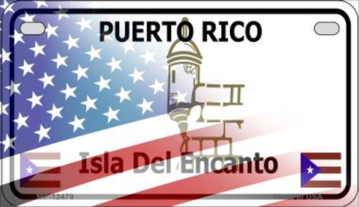 Puerto Rico with American Flag Novelty Metal Motorcycle Plate MP-12479