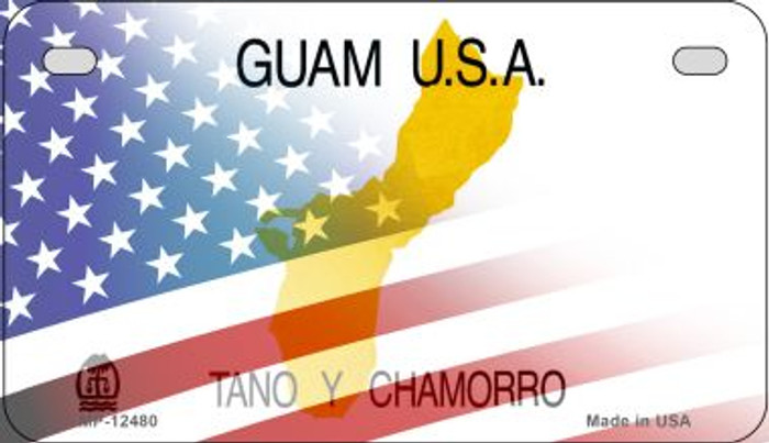 Guam with American Flag Novelty Metal Motorcycle Plate MP-12480