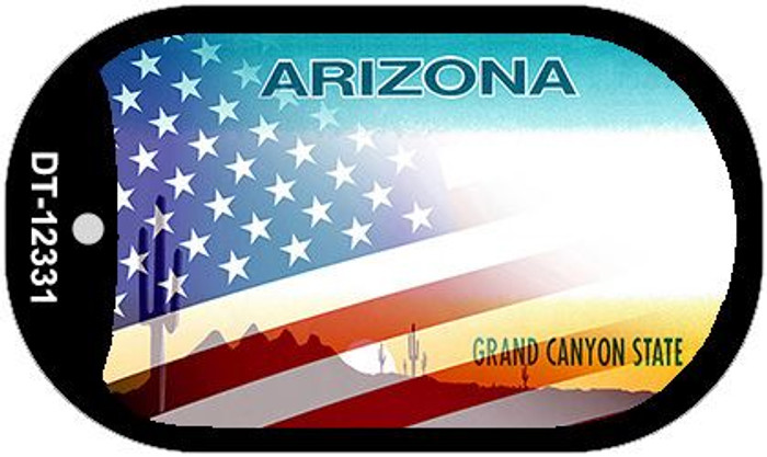 Arizona with American Flag Novelty Metal Dog Tag Necklace DT-12331